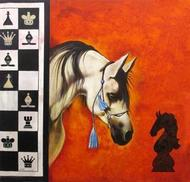 Horse in the Chess 05 by Mithu Biswas, Pop Art Painting, Acrylic on Canvas, Brown color