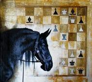 Horse in the Chess 06 by Mithu Biswas, Pop Art Painting, Acrylic on Canvas, Brown color