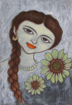 AGirlWithSunflowers_1 by Shivayogi Mogali, , , Brown color