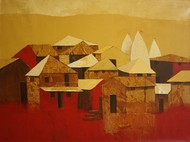 Village 11 by Nagesh Ghodke, Decorative, Decorative Painting, Acrylic on Canvas, Brown color