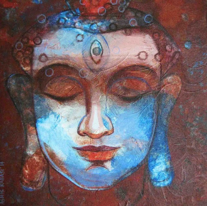 Buddha 1 by Ashis Kabasi, Decorative, Decorative Painting, Acrylic on Canvas, Brown color
