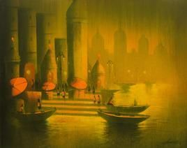GoldenNightinBanaras by Somnath Bothe, , , Green color