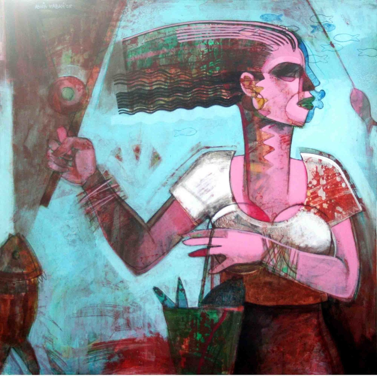 Fisher Woman 1 by Ashis Kabasi, Conceptual, Conceptual Painting, Acrylic on Canvas, Cyan color