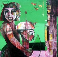 Brother and Sister 1 by Ashis Kabasi, Conceptual, Conceptual Painting, Acrylic on Canvas, Green color