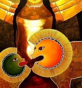 Shera1 by Meenakshi Jha Banerjee, Decorative, Decorative Painting, Acrylic on Canvas, Brown color