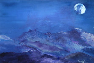Untouched by Malice by Neena Singh, Impressionism Painting, Acrylic on Board, Blue color