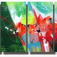 Untitled 24x12x4 panels acrylic on canvas shirish deshpande on the wall