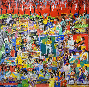 Women Village Market - 1 by Arun K Mishra, Fantasy, Fantasy Painting, Acrylic on Canvas, Brown color