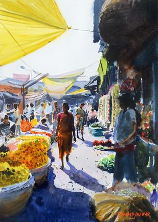 Flower Market, Kolkata by Ramesh Jhawar, , , Gray color