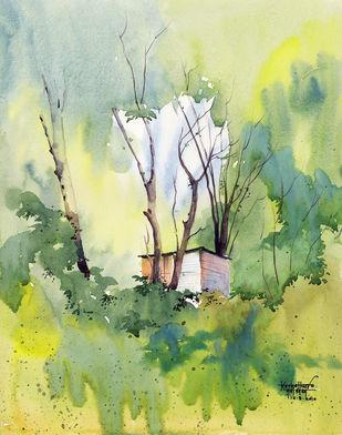 MendhiFarm by Gajanan Kashalkar, Painting, Watercolor on Paper, Beige color