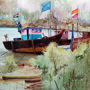 RestTime by Gajanan Kashalkar, Painting, Acrylic on Canvas, Beige color