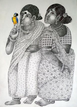 Ladies With Parrot by Narahari Bhawandla, , , Gray color