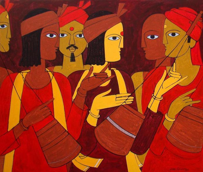 Folk Singer by Jiaur Rahman, , , Brown color