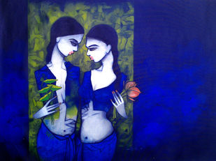 TwoFriends by Mukesh Salvi, Decorative Painting, Acrylic on Canvas, Blue color