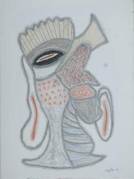 BeyondMask49 by Yogeeta Yadav, Abstract, Abstract Drawing, Graphite on Paper, Pink color
