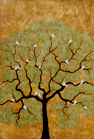 Bythetree by Sumit Mehndiratta, Painting, Acrylic on Canvas, Brown color
