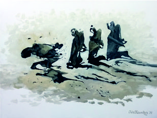 Violence for Peace by Tirthankar Biswas, Impressionism, Impressionism Painting, Oil on Canvas, Gray color