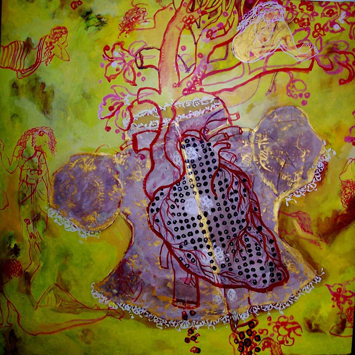 CrimsonAffairs by Sudatta Basu, Abstract, Abstract Painting, Mixed Media on Canvas, Brown color