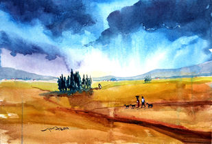 Landscape by Balakrishnan S, Impressionism, Impressionism Painting, Watercolor on Paper, Brown color