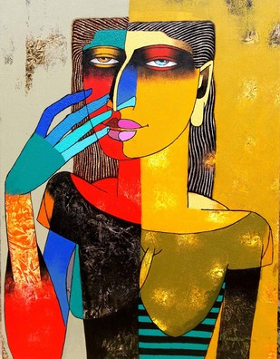 Untitled by Dayanand Kamakar, Decorative, Decorative Painting, Oil & Acrylic on Canvas, Brown color