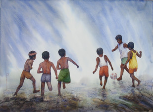 Playing by Siva Balan, Painting, Watercolor on Paper, Gray color