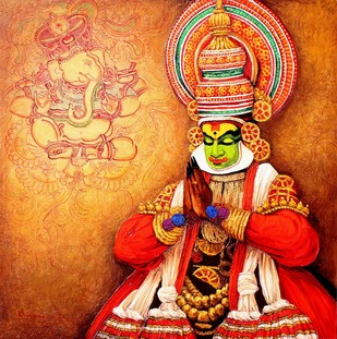 Kathakali by Siva Balan, Painting, Acrylic on Canvas, Brown color