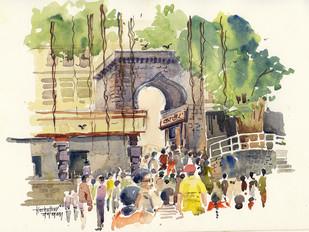 Temple Gate by Gajanan Kashalkar, , , Beige color
