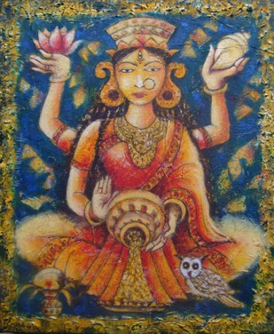 """Devi Lakshmi - The Smiling Face"" by Anirban Seth, , , Brown color"