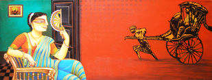 Outside Inside by Gautam Mukherjee, Traditional, Traditional Painting, Acrylic on Canvas, Red color