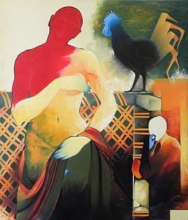 Inattention by Bairu Raghuram, Traditional Painting, Oil on Canvas, Brown color