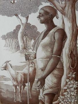 ShepherdRelaxingwithCigar by Bairu Raghuram, Traditional Drawing, Pen & Ink on Paper, Brown color