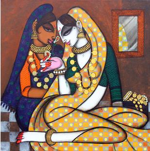 Rhythmic 13 To Adorn by Varsha Kharatmal, Painting, Acrylic & Ink on Canvas, Brown color