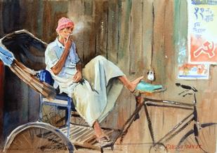 Smoking Rickshawallah by Ramesh Jhawar, , , Beige color