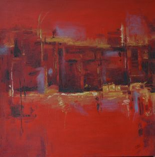 abstract -1 by Atul Virkar, Abstract Painting, Acrylic & Ink on Canvas, Brown color