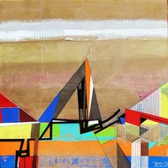 URBAN SCAPE by Prabhinder Lall, Geometrical Painting, Acrylic on Canvas, Brown color