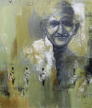 mahatma by Anindya Mukherjee, , , Beige color