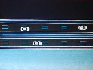 Roadscape by Studio Zaki, Geometrical Painting, Acrylic on Canvas, Blue color