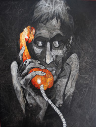 Long distance love by Studio Zaki, Expressionism Painting, Acrylic on Canvas, Gray color