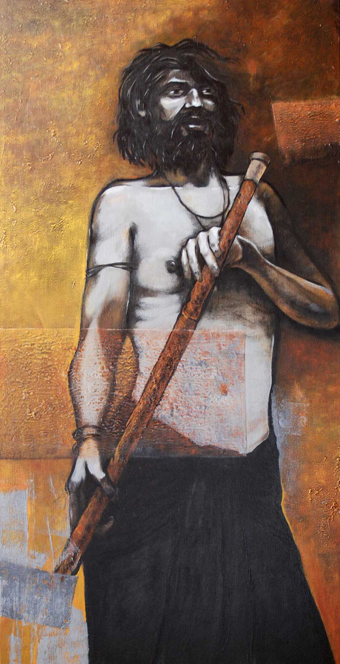 Trip to Backwaters by Studio Zaki, Expressionism Painting, Acrylic on Canvas, Brown color