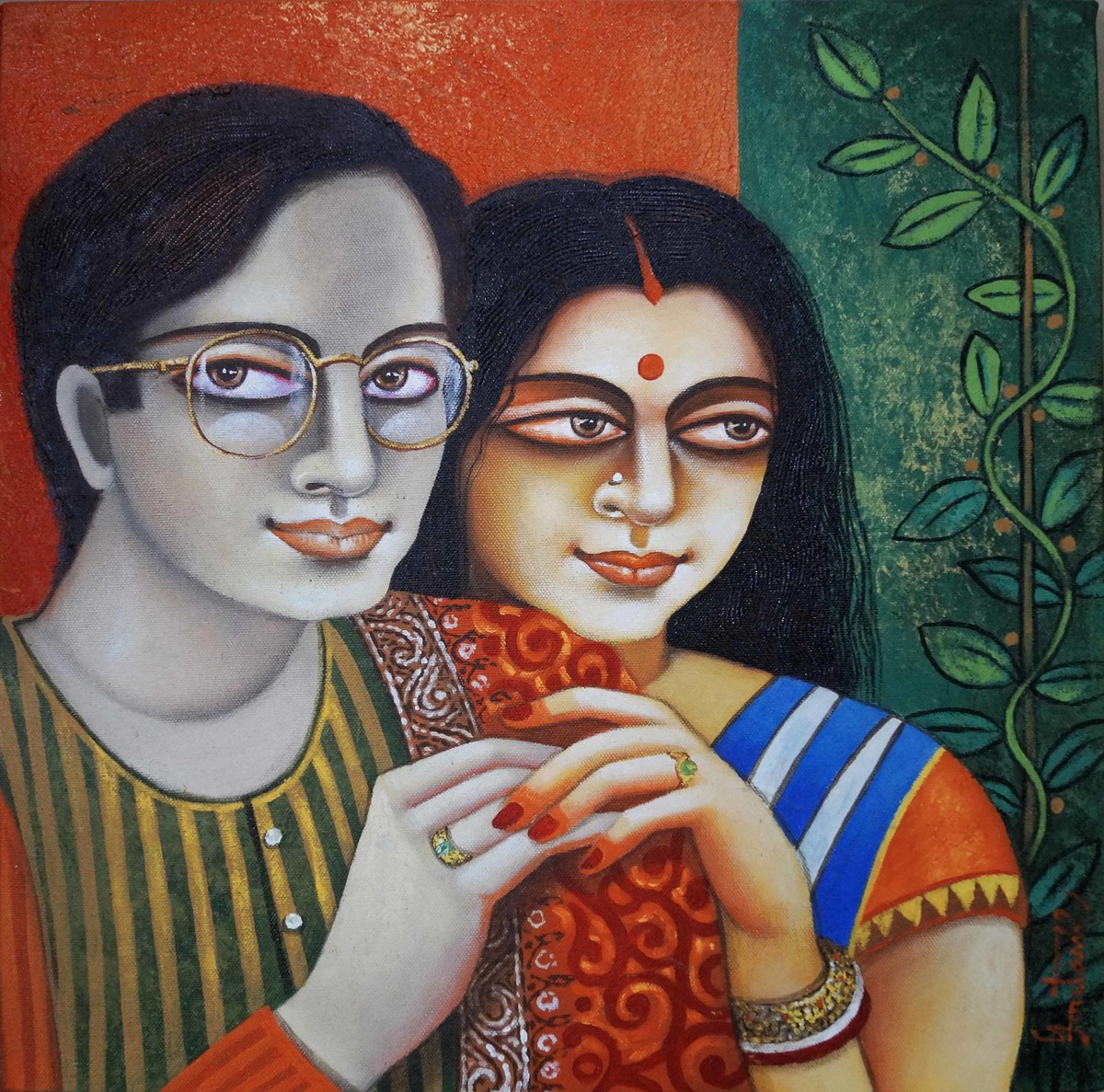 Chaarulata by Gautam Mukherjee, Traditional Painting, Acrylic on Canvas, Cyan color