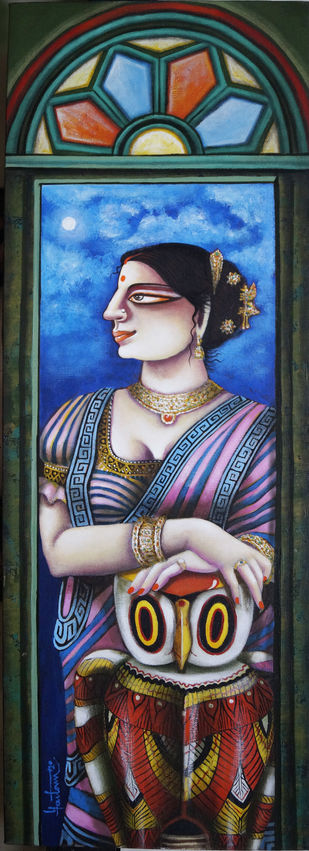 My Lakshmi by Gautam Mukherjee, Traditional Painting, Acrylic on Canvas, Orange color