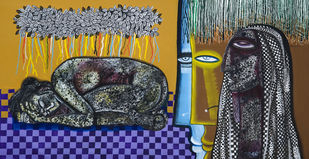 Respect the Creation of God by Arun K Mishra, Conceptual Painting, Acrylic on Canvas, Gray color