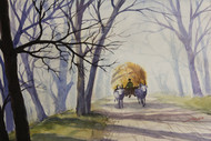 Village Life Landscape by Balakrishnan S, Impressionism Painting, Watercolor on Paper, Gray color