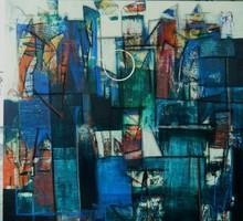 Untitled by Stalin P J, Abstract Painting, Mixed Media on Canvas, Green color