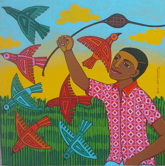 Village Life by Thota Laxminarayana, , , Green color