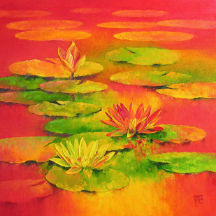Water Lilies 65 by Swati Kale, Impressionism Painting, Oil on Canvas, Orange color