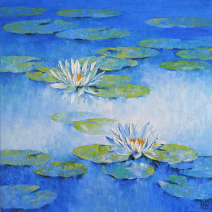 Water Lilies 62 by Swati Kale, Impressionism Painting, Oil on Canvas, Blue color