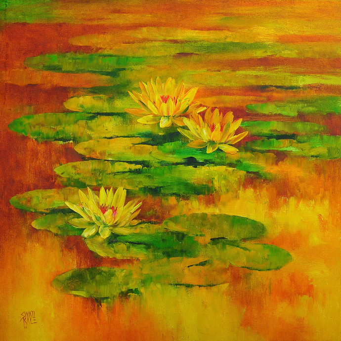 Water Lilies 68 by Swati Kale, , , Green color