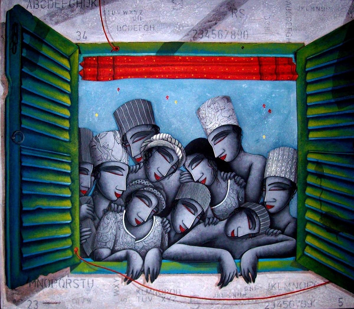 Last Saffer by Samir Sarkar, Painting, Acrylic on Canvas, Blue color