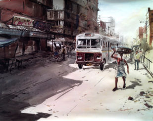 Kolkata V by Susanta Das, Impressionism Painting, Watercolor on Paper, Gray color